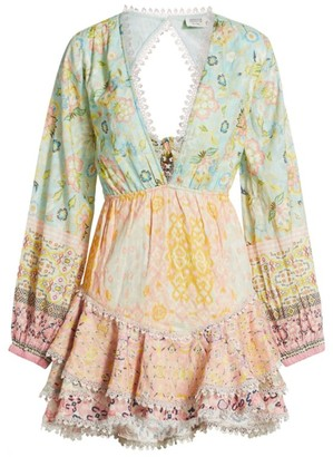 HEMANT AND NANDITA Tiana Mixed Print Mini Dress