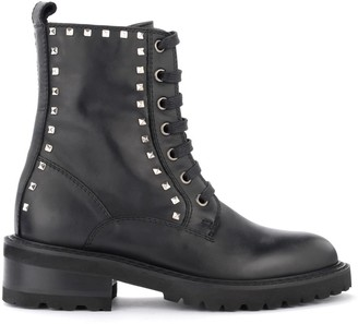 Via Roma 15 Combat Boot Made Of Black Leather With Silver Pyramidal Studs