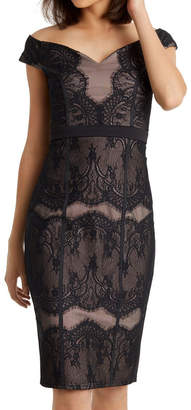 Lipsy Black Lace Bardot Dress