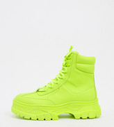 Asos Design DESIGN Wide Fit lace up faux leather boot in neon green with chunky sole