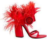 Prada feather plume sandals