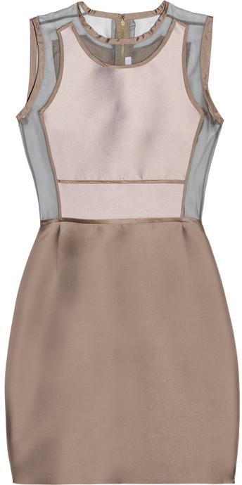 Victoria Beckham Victoria, Silk organza-paneled mikado dress