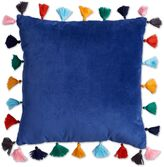 Velvet Tasseled 16-Inch Square Throw Pillow