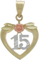 JCPenney FINE JEWELRY Rene Bagueiras Girls 14K Tri-Color Gold 15 Aos Charm