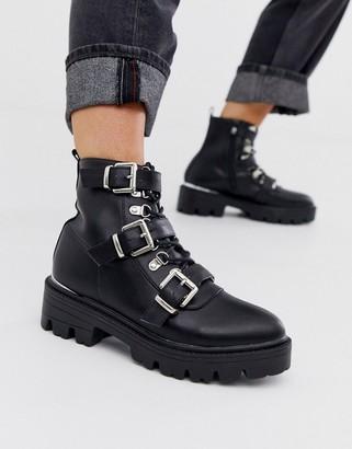 Raid RAID Autumn black buckle detail chunky flat boots