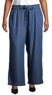 John Paul Richard Plus Size Denim Drawstring Soft Pants