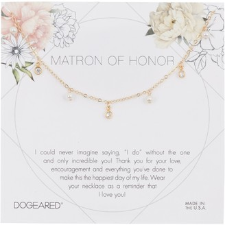 Dogeared Matron of Honor 3mm Pearl Charm Necklace