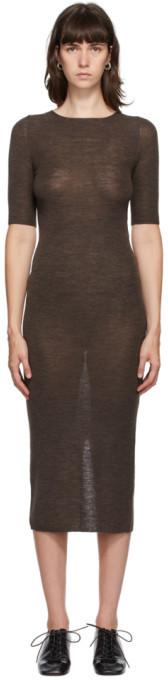 LAUREN MANOOGIAN Brown Merino and Silk Mid-Length Dress