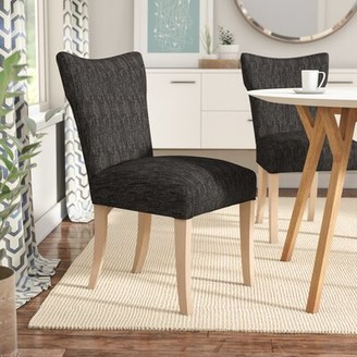 Langley StreetTM Williams Side Chair Langley Street Upholstery Color: Phantom Black, Finish: Washed Walnut