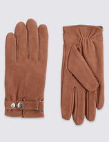 M&S Collection Leather Press Stud Gloves with ThinsulateTM