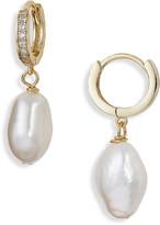 Argentovivo Genuine Pearl & Cubic Zirconia Huggie Hoop Drop Earrings