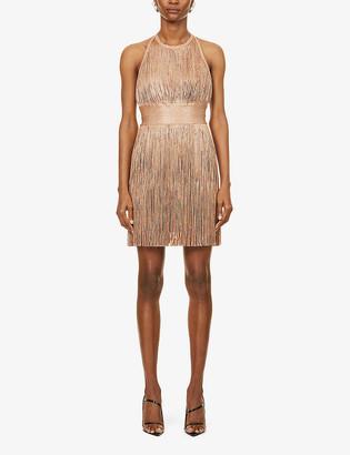Herve Leger Fringed bandage stretch-woven mini dress