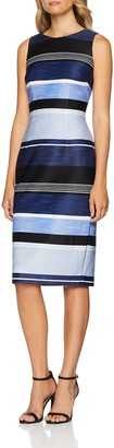 Adrianna Papell Women's Brush of Stripe Printed Dress