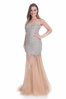 Terani Couture Rhinestone Embellished Sheer Evening Dress 1611P0284