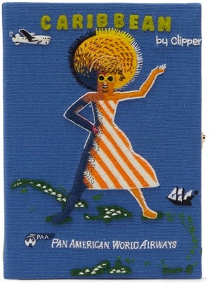 Olympia Le-Tan Pan American Airways Embroidered Book Clutch - Blue Multi