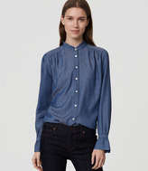 LOFT Chambray Ruffle Neck Softened Shirt