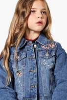 boohoo Girls Floral Embroidered Denim Jacket