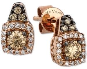 LeVian Le Vian Chocolatier Diamond Halo Cluster Stud Earrings (3/8 ct. t.w.) in 14k Gold