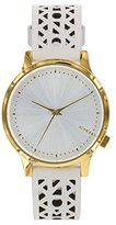 Komono Women's 'Estelle Cutout' Quartz Stainless Steel and Leather Dress Watch, Color:White (Model: KOM-W2652)