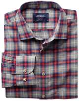 Charles Tyrwhitt Slim Fit Red and Grey Check Heather Cotton Shirt Single Cuff Size XS