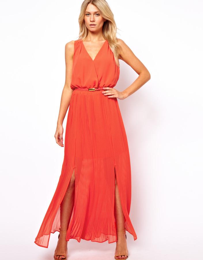 Oasis Maxi Pleat V-Neck Dress