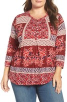 Lucky Brand Mixed Print Knit Top (Plus Size)