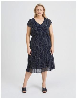 Basque Elastic Pleated Dress