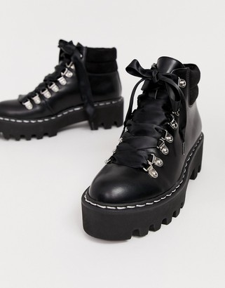 Lamoda Remedy black lace up boot with stitch detail