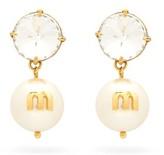 Miu Miu Crystal And Faux-pearl Drop Clip Earrings - Womens - Gold