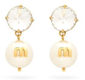 Miu Miu Crystal And Faux-pearl Drop Clip Earrings - Gold