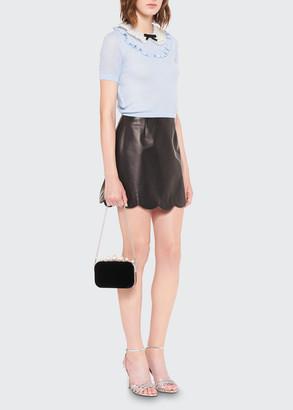 Miu Miu Scallop-Hem Leather Mini Skirt