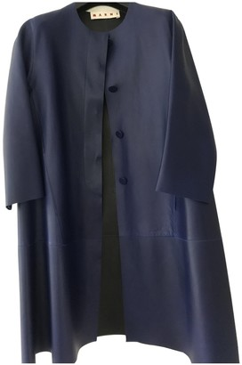 Marni Blue Leather Coat for Women
