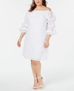 MSK Plus Size Off-The-Shoulder Eyelet Dress