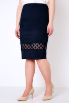 Yours Clothing Navy Liverpool Pencil Skirt With Polka Dot Mesh Insert