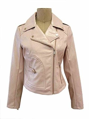 GUESS Women's Ladies Faux Leather Snake Embossed Moto Jacket