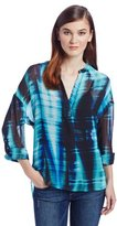 Vince Camuto Two by Women's Colorful Streaks Split Neck Tunic