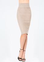 Bebe Faux Suede Midi Skirt