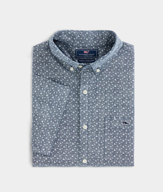 Vineyard Vines Slim Fit Strong Breeze Chambray Tucker Short-Sleeve Button-Down Shirt