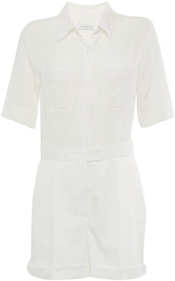 Sandro Jolla Striped Gauze And Cotton-twill Playsuit