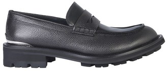 Alexander McQueen Black Embossed Leather Men's Loafer Shoes
