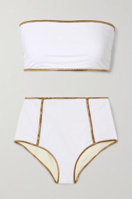Tooshie Montauk Lurex-trimmed Reversible Bandeau Bikini - White