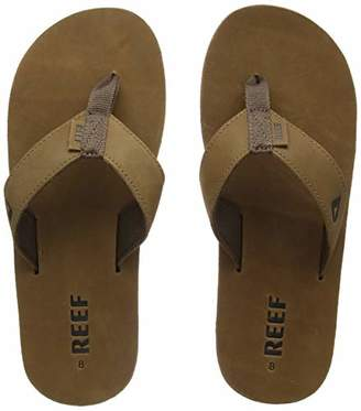 Reef Men's Sandals Leather Smoothy | Classic Leather Beach Flip Flop with Woven Strap and Arch Support