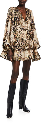Bronx and Banco Cheetah-Print Tiered Ruffle Mini Dress