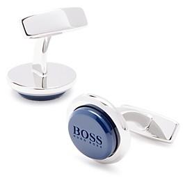 HUGO BOSS Malvin Round Enamel Logo Cufflinks