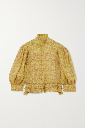 Yvonne S Queen Victoria Ruffled Floral-print Linen Blouse - Lime green