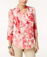 JM Collection Printed 3/4-Sleeve Shirt, Created for Macy's