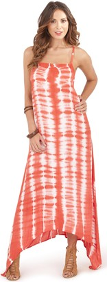 Dannii Matthews Womens Vertical Tie Dye Print Maxi Dress with Adjustable Straps