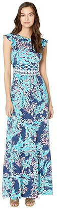 Lilly Pulitzer Mylea Maxi Dress (High Tide Navy Coral Club) Women's Clothing