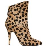 Balmain Beige Pony-style calfskin Ankle boots