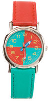 American Apparel Vintage Red/Green Pencil Hand Leather Band Watch